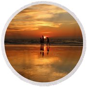 Family Reflections At Sunset -3  Round Beach Towel