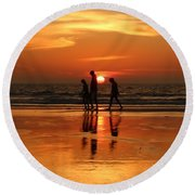 Family Reflections At Sunset - 1 Round Beach Towel