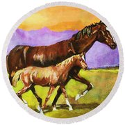 Round Beach Towel featuring the painting Family Stroll by Al Brown