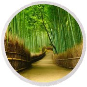 Famous Bamboo Grove At Arashiyama Round Beach Towel by Lanjee Chee