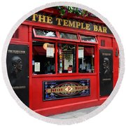 Famous Temple Bar In Dublin Round Beach Towel