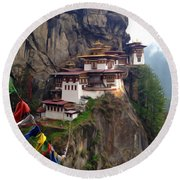 Famous Tigers Nest Monastery Of Bhutan 10 Round Beach Towel