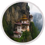 Famous Tigers Nest Monastery Of Bhutan Round Beach Towel