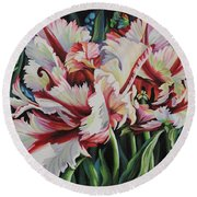 Fancy Parrot Tulips Round Beach Towel