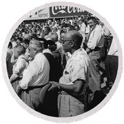Fans At Yankee Stadium Stand For The National Anthem At The Star Round Beach Towel by Underwood Archives