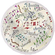 Fantasy Creatures Round Beach Towel