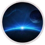Fantasy Earth And Moon With Sunrise Round Beach Towel