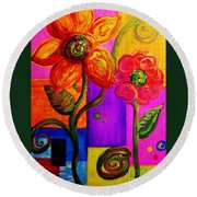 Round Beach Towel featuring the painting Fantasy Flowers by Eloise Schneider