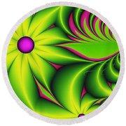 Round Beach Towel featuring the digital art Fantasy Flowers by Gabiw Art