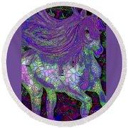 Fantasy Horse Purple Mosaic Round Beach Towel