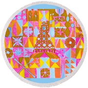 Round Beach Towel featuring the painting Fantasy In Form by Beth Saffer
