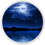 Fantasy Moon And Clouds Over Water Round Beach Towel