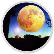 Fantasy Moon Landscape Digital Art Round Beach Towel