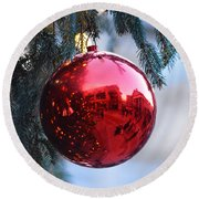 Faneuil Hall Christmas Tree Ornament Round Beach Towel