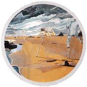 Round Beach Towel featuring the painting Faraway Lejanias by Lazaro Hurtado