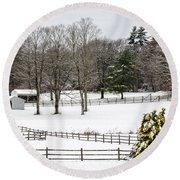 Round Beach Towel featuring the photograph Horse Farm And The Tree by Mike Ste Marie