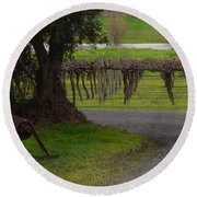 Farm And Vineyard Round Beach Towel