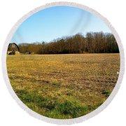 Farm Field With Old Barn Round Beach Towel