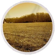 Round Beach Towel featuring the photograph Farm Field With Old Barn In Sepia by Amazing Photographs AKA Christian Wilson