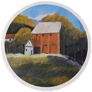 Round Beach Towel featuring the painting Farm With Red Barn by Pamela  Meredith