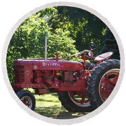 Farmall's End Of Day Round Beach Towel by Denyse Duhaime