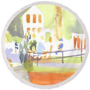 Farmers Market II  Round Beach Towel by Kip DeVore