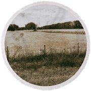 Round Beach Towel featuring the photograph Farming by Howard Salmon