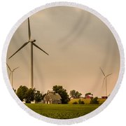 Farms And Windmills Round Beach Towel