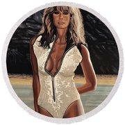 Farrah Fawcett Painting Round Beach Towel