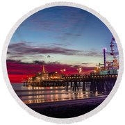 Ferris Wheel On The Santa Monica California Pier At Sunset Fine Art Photography Print Round Beach Towel by Jerry Cowart