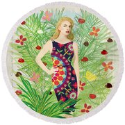 Fashion And Art - Limited Edition 1 Of 10 Round Beach Towel by Gabriela Delgado