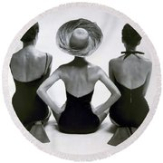 Fashion Models In Swim Suits, 1950 Round Beach Towel
