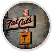 Fat Cat's Lounge Round Beach Towel