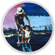 Father And Son Round Beach Towel