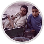Father And Son Round Beach Towel by Shaun Higson