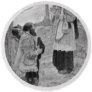 Father Hennepin Celebrating Mass, Illustration From La Salle And The Discovery Of The Great West Round Beach Towel