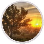 Father's Day Sunrise Round Beach Towel