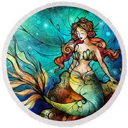 The Serene Siren Triptych Round Beach Towel