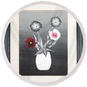 Faux Flowers II Round Beach Towel