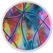 Faux Stained Glass 1 Round Beach Towel