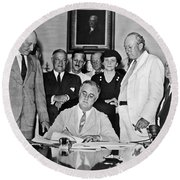 Fdr Signs Social Security Bill Round Beach Towel