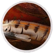 Feather And Leather Round Beach Towel