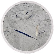 Shadow In The Sand Round Beach Towel