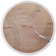 Feather On Sand Round Beach Towel