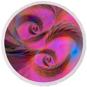 Feathers In The Wind Round Beach Towel