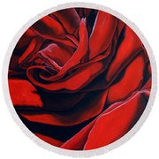 Round Beach Towel featuring the painting February Rose by Thu Nguyen