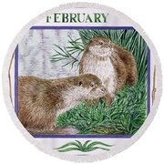 February Wc On Paper Round Beach Towel