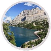 Round Beach Towel featuring the photograph Fedaia Pass With Lake by Antonio Scarpi