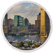 Federal Hill View To The Baltimore Skyline Round Beach Towel