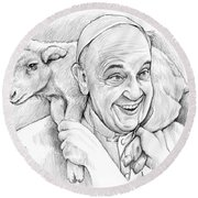 Feed My Sheep Round Beach Towel by Greg Joens